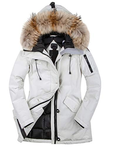 HSW Women Winter Jacket Girls Winter Coats Ski Jacket Women White Snow Jacket Waterproof& Windproof (White, XL)