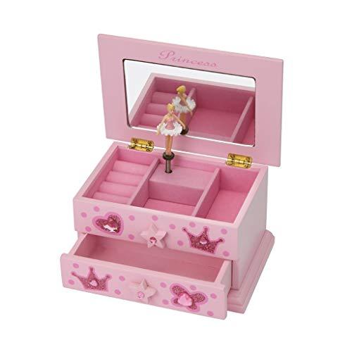 ZAZA Caja de Musica Madera De Joyería Musical Rosa De La Caja Joyero Princesa De Almacenamiento Caja De Música De La Bailarina De La Joyería Caja Caja de música Duradera
