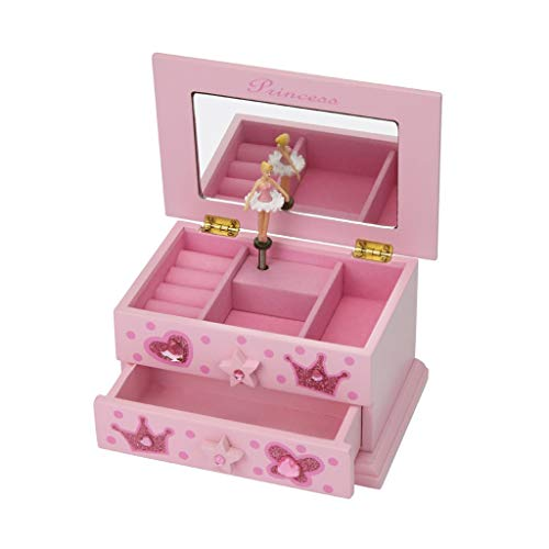 DIDI Music Box Gift Wooden Musical Jewelry Box Pink Princess Jewelry Storage Music Box Musical Ballerina Jewelry Box for Girls Children Gifts Musical Boxes