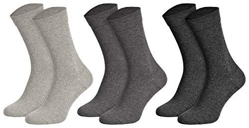 Piarini Socken ohne Gummib& Herren 3er Pack - Ges&heitssocken die nicht einschneiden aus Baumwolle Grau 47 48 49 50