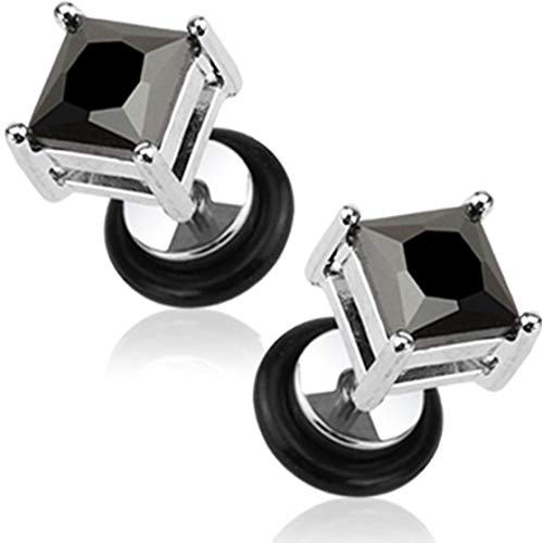 Forbidden Body Jewelry 16g Surgical Steel Square Crystal Dia Cut Cheater Plug Earrings (Black CZ)