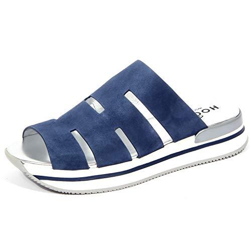 Hogan 1687J Sandal Donna Light Blue H257 Ciabatta Suede Shoe Woman [35]
