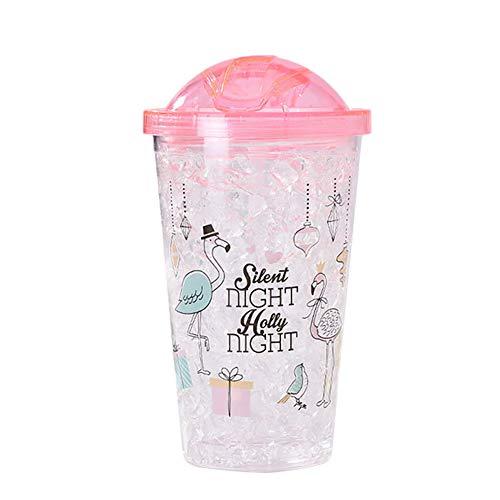 Demarkt plastic beker, dubbelwandig, kop, beker, deksel, strohalm, smoothie, sap, koffie, ijskoffie, drinkbeker, 450 ml