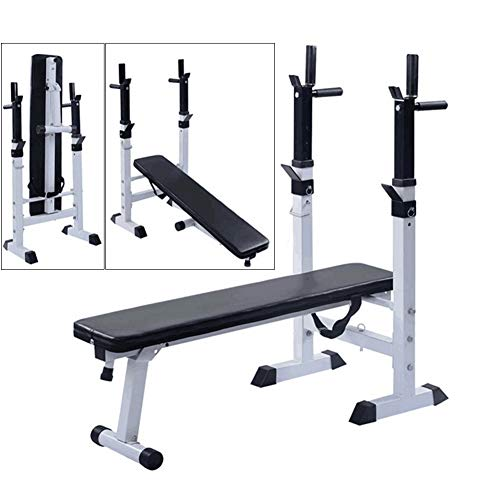 Weight Bench with Weights and Bar,Foldable Home Fitness Bench Press,Barbell Rack Height Adjustable Weight Bench Set White 116x111x55cm(46x44x22inch)