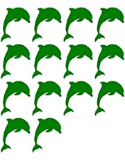 14x Dolfijn Sticker Decal Transfer Craft Tile, Muur, Raam Badkamer 14 Stuks Donker Groen
