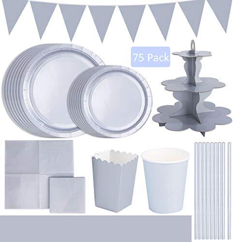 Amycute 75 -Teiliges Party-Set Silber Papier Einweg Geschirr,12 Gäste - Pappteller, Becher, Servietten, Partytüten&Tischdecken,Babyparty Hochzeit Weihnachten Geburtstag Party Supplies.