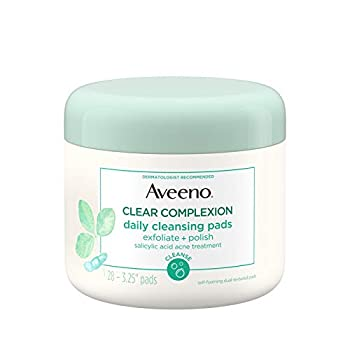 Aveeno Clear Complexion Daily Facial Cleansing Pads with Salicylic Acid Acne Treatment 28 ct