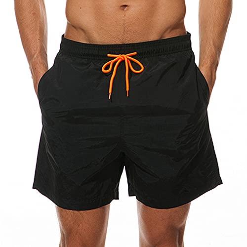 FANJUANMIN 4XL Hombres Jogging Gimnasio Fitness Entrenamiento Playa Pantalones Cortos Hombres Verano Deportes Fitness Playa Pantalones Casuales (Color : Negro, Size : M)