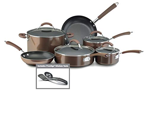 Farberware 10570 Millennium Nonstick Cookware Pots and Pans Set, 12 Piece, Bronze