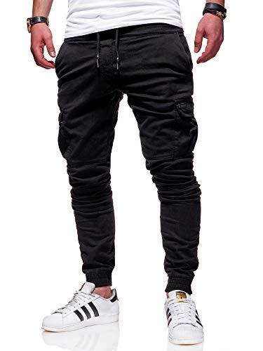 behype. Herren Cargo Chino-Hose Jogger Jeans-Hose 80-8393 Schwarz W31