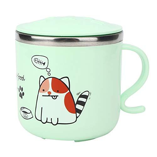 Taza, taza de niños de dibujos animados de acero inoxidable 304 para el hogar, tazas de agua de dos pisos con tapa 270ml taza de aprendizaje para niños antiescaldantes (3.1x3.1in)(3 # verde)