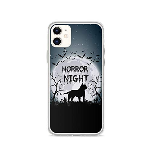 Compatible for iPhone 11 Case Mysterious Moon Night Pitbull Dog Silhouette Halloween Art TPU Anti-Scratch