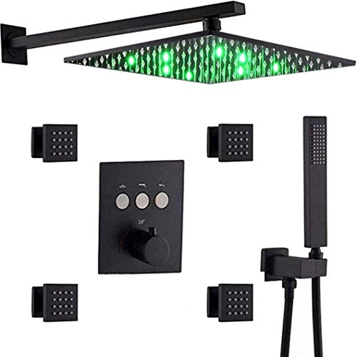 Sistema de ducha Montaje de pared termostático de latón negro 10-12 pulgadas LED cabeza de ducha de lluvia con 4 jets de cuerpo mezclador de ducha portátil de 10 pulgadas Juego de ducha de lujo