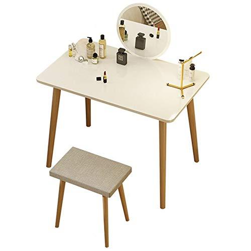KYSZD-Uhren Schminktisch mit spiegelgepolstertem Hocker-Waschtischset für Schlafzimmer Make-up Schmuck Aufbewahrungsset Weiß/Grün