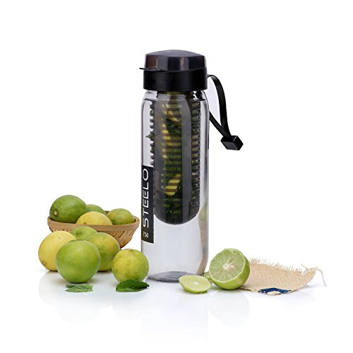 Steelo Plastic Fruit Infuser Bottle, 750ml, Black
