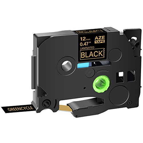 GREENCYCLE Compatible for Brother TZE-334 TZe334 TZ334 Gold on Black AZE Label Tape 1/2 Inch 12mm 8m (26.2ft) for PT-D210 PTH110 PTD400 PTD600 P700 PT H500LI PT-1230PC PT-1280 PTP710BT PTP700, 1 Pack