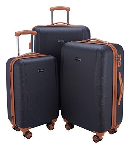 HAUPTSTADTKOFFER - Wannsee - 3er Koffer-Set Trolley-Set Rollkoffer Reisekoffer, TSA, (S/M/L), Dunkelblau/Braun