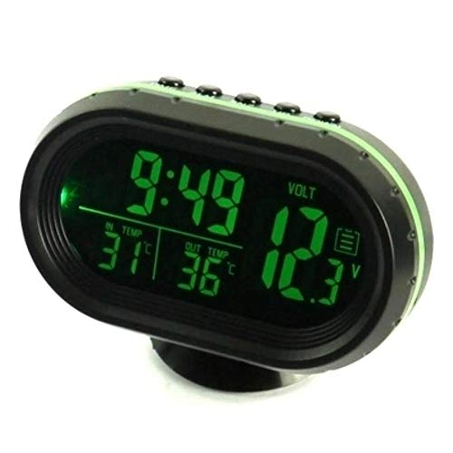 Umisu - Reloj de termómetro digital para coche, 4 en 1, alarma, monitor de voltaje, reloj LCD, retroiluminación, 12/24 horas, indicador de temperatura, color verde