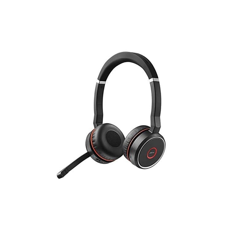 Jabra Evolve 75 MS Casque Stereo sans fil supra-auriculaire - Casque certifié Microsoft avec batterie longue durée - Adaptateur Bluetooth USB - Noir