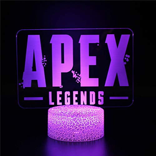3D Illusion Lamp, 3D Night Light for Boys Girls Apex Legends 3D Illusion Lamp with Remote Control 16 Color Change Acrylic Sheet Crack Base Bedside Lamps
