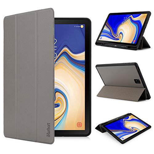 iHarbort Custodia in pelle PU per Samsung Galaxy Tab S4 10.5 pollici SM-T830 T835, 2018 Version Case Cover con slot per S-penne porta-slot per penna, 3 volte, il sonno/sveglia la funzione, Grigio