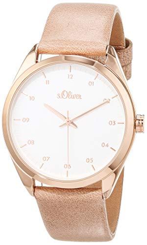 s.Oliver Damen Analog Quarz Uhr mit Leder Armband SO-3732-LQ