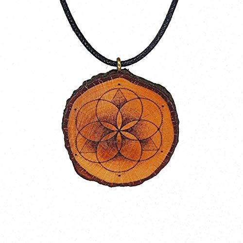 SOULSLICES Samen des Lebens Holzanhänger Halskette - Heilige Geometrie - Sacred Geometry - Seed Of Life - Vegan - Naturschmuck - Herrenkette - Damenkette - Halsschmuck - Frauen & Männer