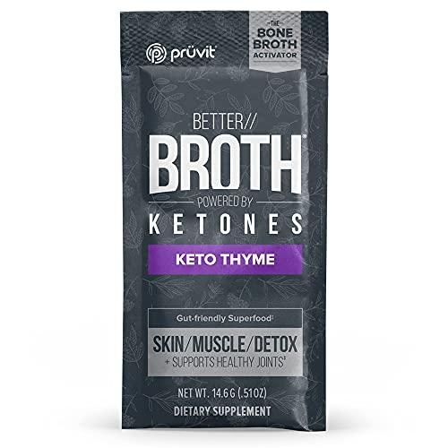 Pruvit Better Broth Keto Thyme for Joint Support, Muscle Recovery and for Enhancing The Appearance of Skin and Hair - 20 Count