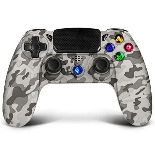 Drahtloser Controller für PS4, Proslife-Controller für Playstation 4 / Pro / Slim-Konsolen, Touchpanel-Joystick mit doppelter Vibration, kabelgebundene Gaming-Fernbedienung für PS3 / PC-graue Tarnung