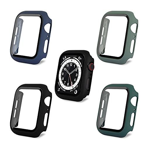 AOTUAO Funda Compatible con Apple Watch Serie 6 SE 5 4 44mm, Estuche Rígido Delgado PC Protector de Pantalla Cristal Templado para iWatch, 4Piezas Negro Official Green Midnight Blue Dark Green