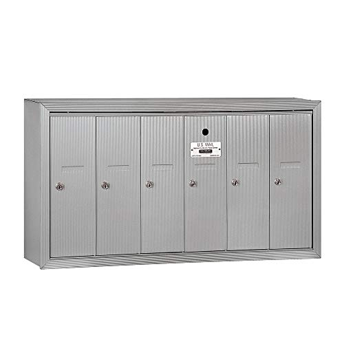 Salsbury Industries 3506ASU Surface Mounted Vertical Mailbox with 6 Doors and USPS Access, Aluminum