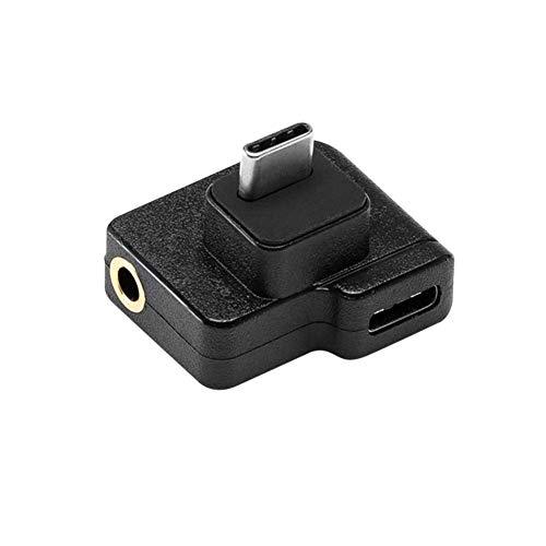 TUTUO Audio Adapter für DJI OSMO Action Kamera, Dual USB-C auf 3.5 mm Mikrofonadapter Unterstützt Spracheingabe, Datenübertragung, Batterieladung Konverter für DJI OSMO Action