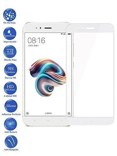 Todotumovil Protector de Pantalla Xiaomi MI A1 y 5X Blanco Completo 3D Cristal Templado Vidrio Curvo para movil