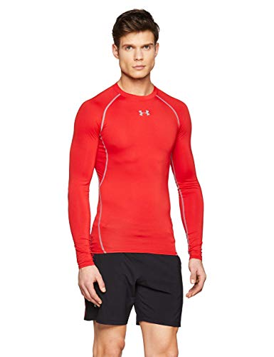 Under Armour UA HeatGear Long Sleeve, Maglia A Maniche Lunghe Uomo, Rosso (Red/Steel (600), M