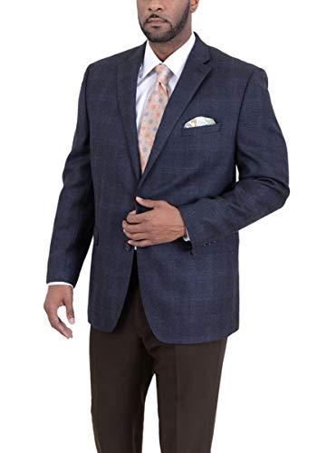 Ital Uomo Regular Fit Navy Herringbone Plaid Two Button Wool Blazer Sportcoat