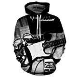 Pull-over Hommes Personnalité D'impression Guitare À Capuche Manches Longues Pull Jumpers Respirant À Manches Longues À Capuche Sweat Jumpers Graphic Sweat À Capuche Pull Avec Poche Kangourou CLKMRY