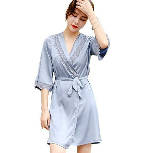 Nachthemden Pyjamas/Nachtwäsche Sommerpyjamas for Damen Schlankes Atmungsaktives Personalisierte Hauskittel Damenpyjamas (Color : Blue, Size : XL)