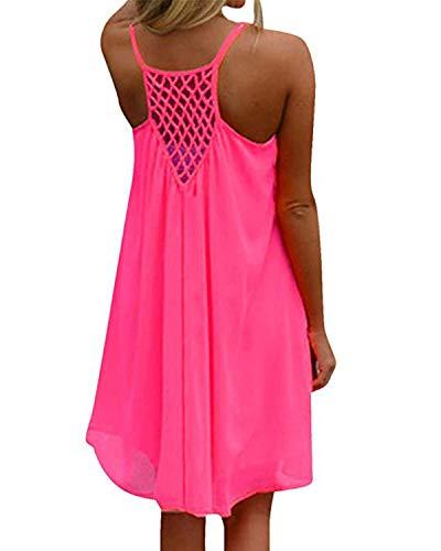 kenoce Damen Sommerkleid Badeanzug Strandkleid Chiffon Bikini Cover Up Boho Halter Ärmellos Lose Sommerkleid Rosa S