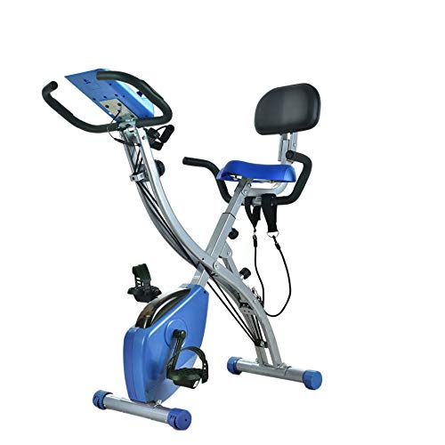 Wonder Maxi Folding Magnetic Exercise Bike, Upright Recumbent Indoor Workout Bike with Arm Resistance Bands LCD Monitor (Blue)