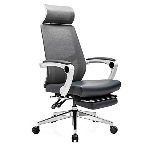 Gaming Chair Grün mit Fußstütze, Rennstuhl, Leder mit Kopfstütze und Lordosenstütze 90-155 & deg;Anpassung/Beruhigende Halswirbelsäule/Lendenwirbelsäule/hochelastisches atmungsaktives Schwammki