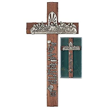 Bless Us O Lord These Thy Gifts Last Supper 12 Inch Walnut Wood Pewter Wall Cross