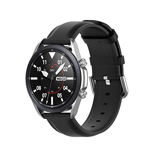 Wownadu 20mm Correa Compatible para Samsung Galaxy Watch 3 41mm Correas Negro Mujer Hombre Pulsera Recambio Cuero Band Compatible para Garmin Vivoactive 3 (sin Reloj)