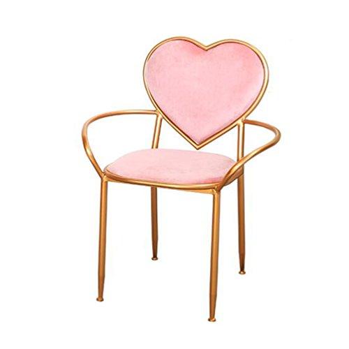 LIUSIXIAO Nordique Minimaliste Rose en Forme de Coeur Chaire de Maquillage - Creative Armchairs Iron Art Chaise À Manger Balcon Chaise Longue Or Dressing Table Chaise Simple Chambre Décorative Chaise