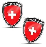 Biomar Labs® 2 x Aufkleber 3D Gel Silikon Abzeichen Stickers Auto Motorrad Fahrrad Fenster Tür PC Handy Tablet Laptop Switzerland Schweiz Swiss Flagge Fahne Flag F 155