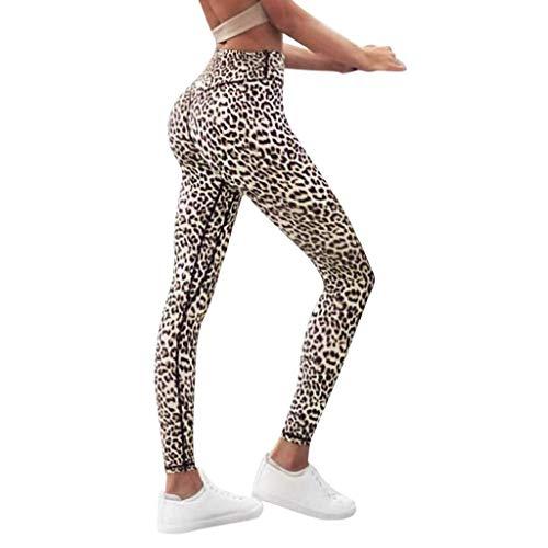 Kneris Leggins Pantalones Mujer Mallas Estampado de Leopardo Fitness Deportes Cintura Alta Yoga Athletic