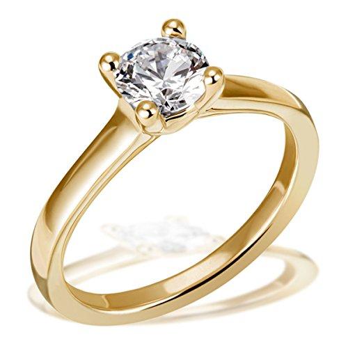 Goldmaid Damen-Ring Solitär 4er Stotzen Verlobung, Trauung, 750 Gelbgold 1 Brillant Lupenrein weiß 1,00 ct. Inkl. externer Expertise So R6737GGL