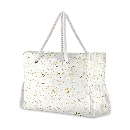Beach Bag with Cotton Rope Handles, Marble With Gold Texture Shoulder Bag Beach Tote Bag, Top Zip, Multiple Exterior & Interior Pockets