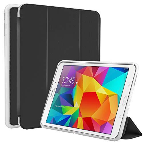 N NEWTOP Cover Compatibile per Samsung Galaxy Tab 4 T330-T335 8', Custodia Flip Smart Libro TPU Back Front Ultra Sottile Leggera Stand Supporto Funzione Wake/Sleep Simil Pelle (Nera)