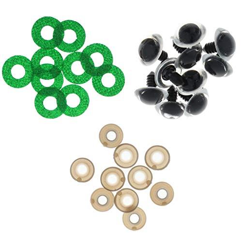 30 Unids Ojos de Seguridad Redondo con Arandelas Plástico Transparente para Fabricación...