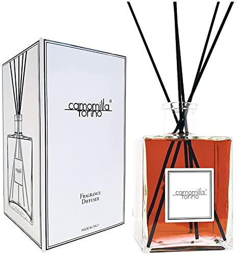 HOME KOKO LOOK Diffusore di fragranza per Ambienti Profumatore Ambiente Made in Italy 2500 ml Diffusore Bastoncini Elimina Cattivi Odori Aromi Naturali Aromaterapia - Profumo Ambra e Sandalo